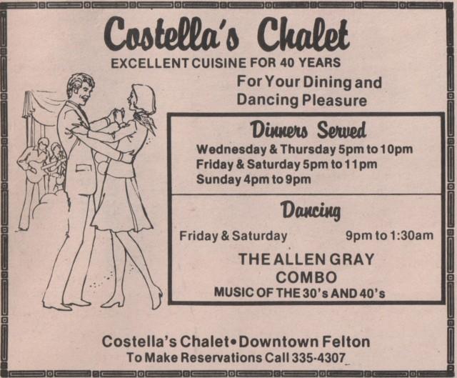 Costella's Chalet circa 1982. Hwy 9, Felton.