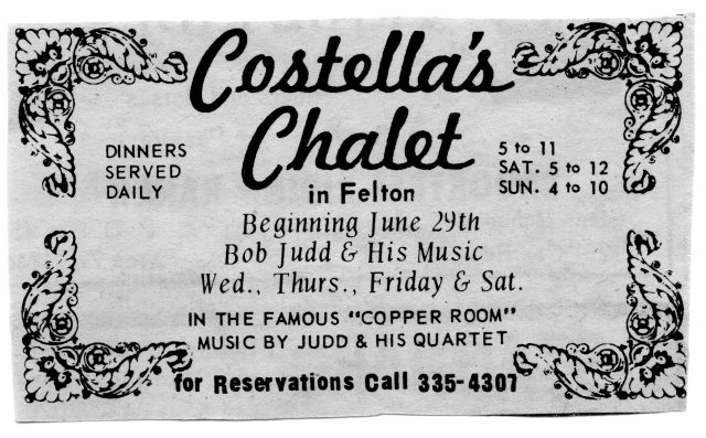 Costella's Chalet ad. 1960's. Courtesy of Jo Chaney.