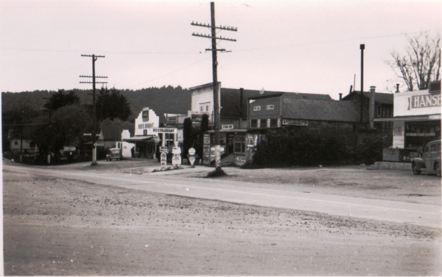 1936 Hwy 9 Felton looking toward Santa Cruz. Tallest bldg. was Frank Rodriquez' store. Next left Fred Quisdorf's Mechanic shop and gas station. Next left old Roy's Market. Far Right is a coffee shop/soda fountain. What's the name? Courtesy Thelma Dalman.