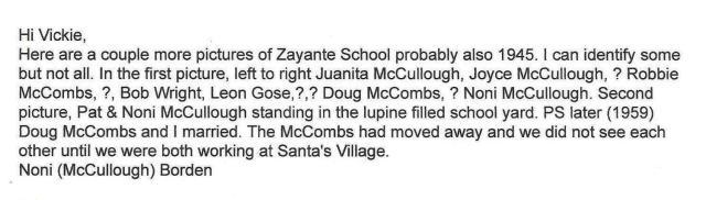 356 Noni Zayante School Kids Names ca. 1945 Noni McCullough Borden