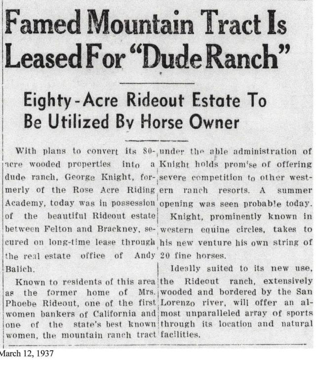1937 article about Rideout Ranch, Courtesy of Randall Brown.