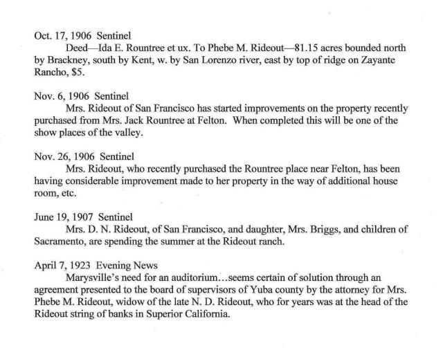 1906-1907 News briefs about Rideout Ranch, Felton. Courtesy of Randall Brown.