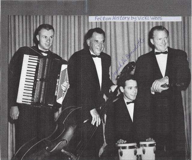 Bob Judd Band at Costella's. L to R: Don Rutter played Cord-a-vox, Ernie High on string bass, Joseph Di Benedetto, drums and Bob Judd far right. 1960's. Courtesy Joseph Di Benedetto.