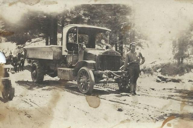 Borland truck and driver/worker near Felton, circa 1920's? Courtesy of Carol Harrington.