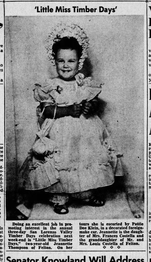 Sept. 16, 1951 Santa Cruz Sentinel. Little Miss Timber photo. Courtesy Randall Brown.