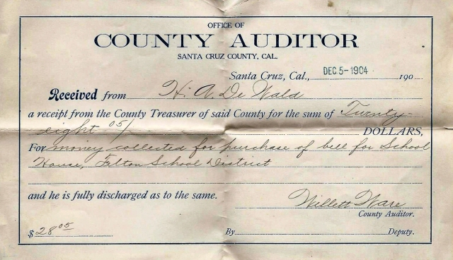 1904 receipt for Felton School bell, purchased by H. A. De Wald, long time Felton resident. Courtesy Carol Harrington.
