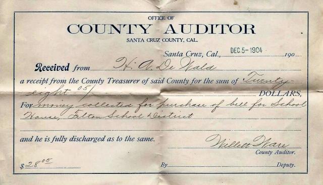 1904 receipt for Felton School bell, purchased by H. A. De Wald, long time Felton resident. Courtesy Carol Harrington.